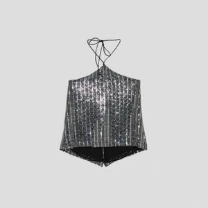 ZARA Open back Sequins Halter Top, Small, NWT